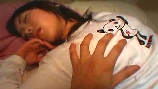 Dude touches hard nipples of sleeping gal Kozue Matsushima