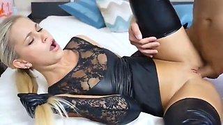 gorgeous blond slut fucked in black latex wet look lingerie