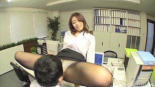 Japanese secretary pleases her boss by riding his hard dick