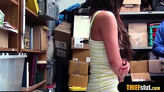 Pretty brunette shoplift teen punished by a mall cop