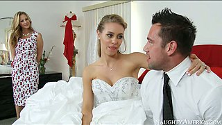 Big boobed bride and her sexy kooky please kinky groom with steamy BJ
