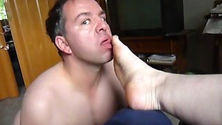 My husband licks my shoes and my feet in homemade video