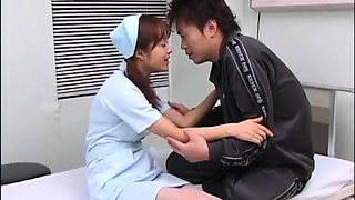Cute Japanese nurse seduces a patient to drill her pussy