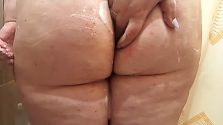 Hot curvy MILF shows her body in the shower