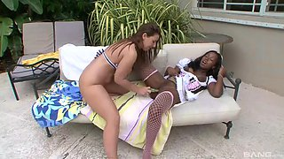 july and lexi engage in the beautiful outdoors lesbian action