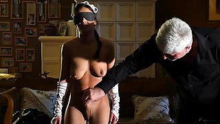 Blindfolded slave maid fondled and whipped