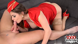 Busty flight attendant Pounded hard in the ass