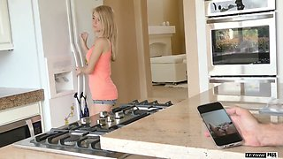 Sweet young housewife Hannah Hays gets her pussy fucked in the kitchen