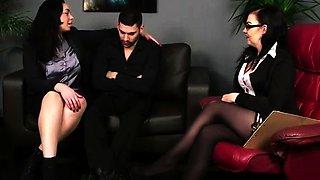 Shy CFNM amateur stripped by British femdom babes