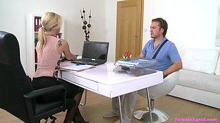 Amazing blonde secretary seduces her new intern