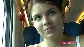 Zuzinka plays with dildo in a crowded train