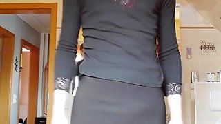 sexy femboy black outfit pantyhose red lingerie