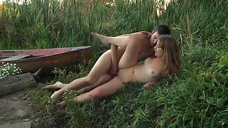 Outdoor sex in the grass for these young ones