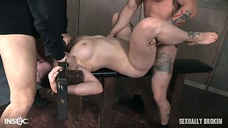 Two aggressive dudes punish mouth and pussy of tied up Bella Rossi