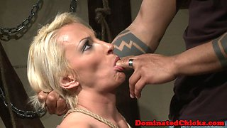 Submissive milf in stockings gets punished