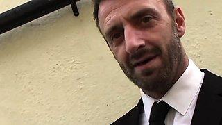 Cumdrinking brit subject being slapped