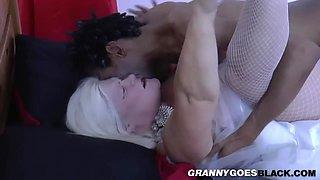 Granny bride gets oral before riding