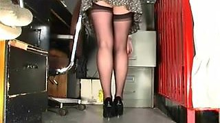Office Angel Discloses Her Hot Nylons Upskirt On Hidden Webcam