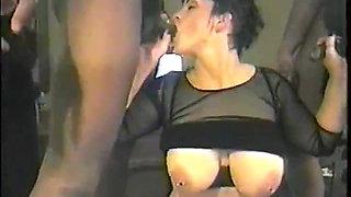 Thick white pierced slut gets gangbanged by black men 2 of 4