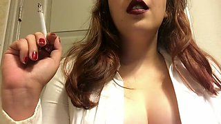 Chubby Brunette Teen Smoking White Filter 100 - Big Perky Tits - Big Lips