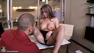Slutty assistant Rachel Roxxx entertains a guy while waiting on her boss