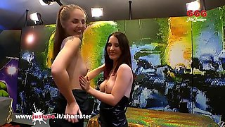 Beautiful Bibi and Innocent Lia-Louise in sperm Arena - GGG