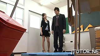 Gorgeous teacher gets on her knees and gives steamy blow job