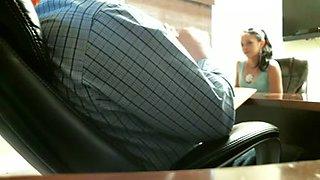 Girl giving her future boss office blowjob