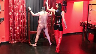 Hard whipping by hot sadistic italian mistress