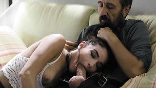 Dad spanks and fucks his slutty daughter Emily Willis