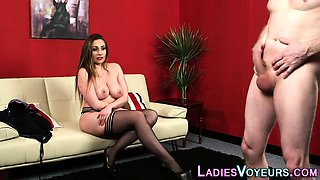 Busty domina watches guy