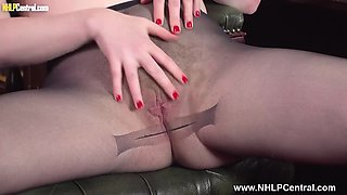Sexy blonde secretary Satine Spark strips down for you to spunk on her pantyhose pussy
