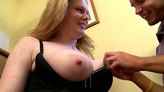 Freaky stud sucks nipples of his chubby mega busty bitch