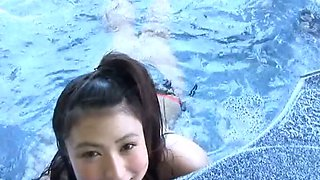 Asian pool sweetie Nonami Takizawa shows off her juicy tits on webcam