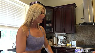 Horny housewife is ready to flash her titties to her neighbor