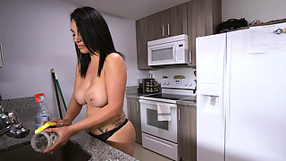 Maid in bra and panties cleans apartment