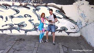 Orange-haired nerdy Kira Roller receiving a pulsating wiener