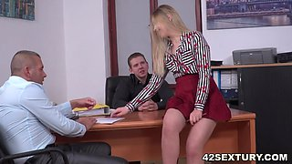 Double penetrated younger secretary