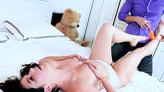 Hot nanny Paris Cummings gets her pussy slammed in bed