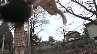 Horny panty upskirts of girls on the playground