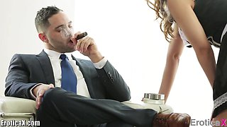 Busty maid fucks her boss and that hottie knows how to make sex sexier