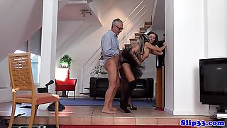 Petite euro doggystyled by mature couple