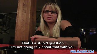PublicAgent: Blonde cafe waitress takes it in the toilet