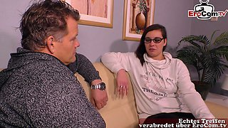 german normal young housewife next door at first casting