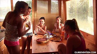 Outdoor extreme lesbian group sex with teens on a boat