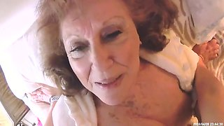 Horny Granny With Lovely Boobs Rides Young Cock
