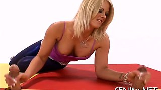 horny girl has a hot workout