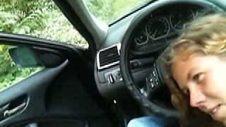 Slutty coed enjoys sucking my weiner in a car in POV scene