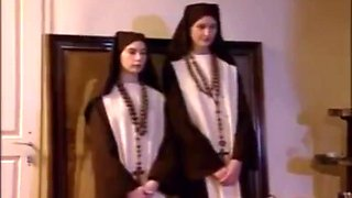 Cute french nuns Sabine and Mona offer their anal virginity to the priest