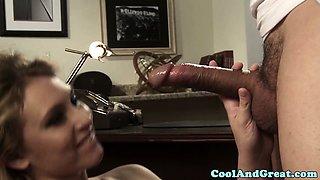 Blonde secretary facialized by her boss